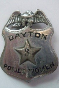 Policewoman's badge, also known as a 'shield', from Dayton, OH.