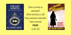 One carries a parasol One carries a .38Two women sleuthsTwo novelsFREE1-20-22 (1)